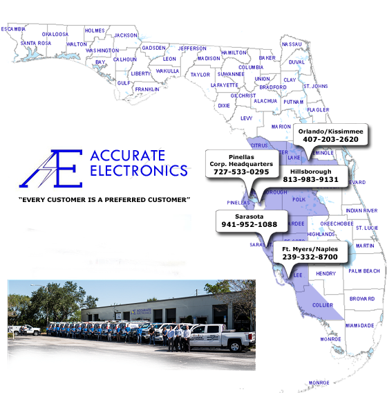 Florida Map of Accurate Electronics service areas